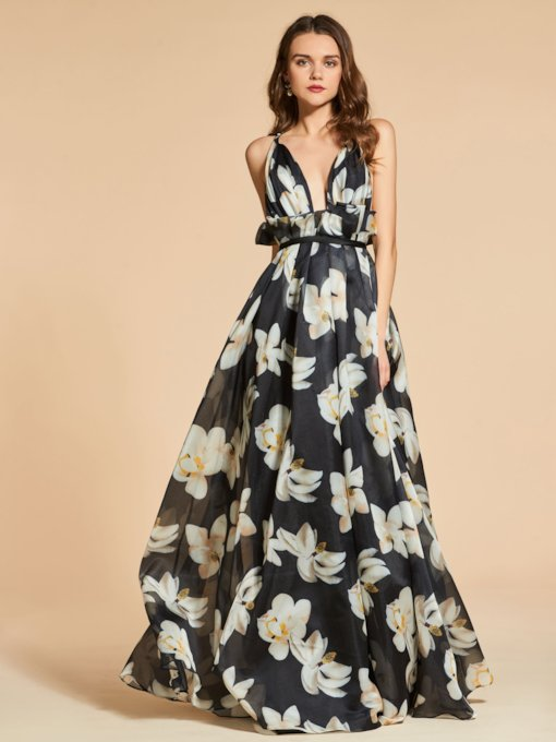 Criss-Cross Straps A-Line Printed Prom Dress 2019