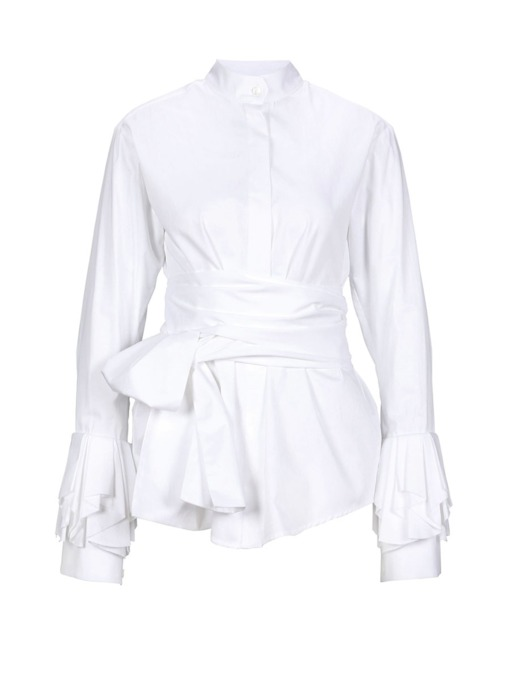 Plain Lace-Up Lantern Sleeve Women's Blouse