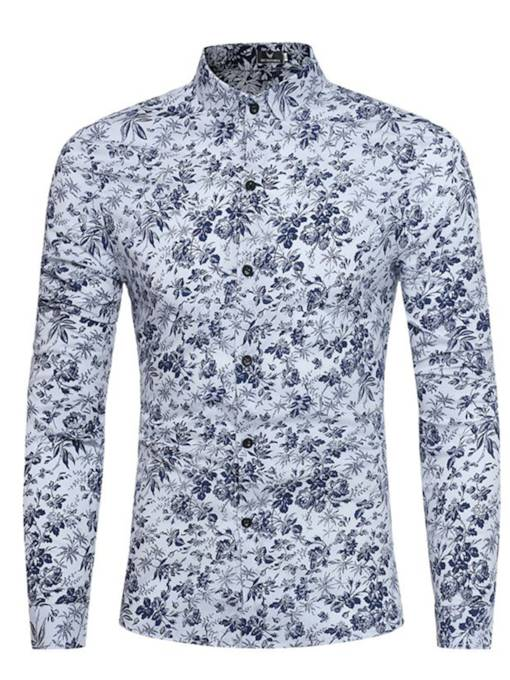 Lapel Ethnic Floral Print Single-Breasted Men's Shirt