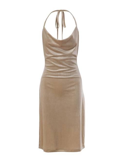 Plain Halter Velvet Women's Bodycon Dress