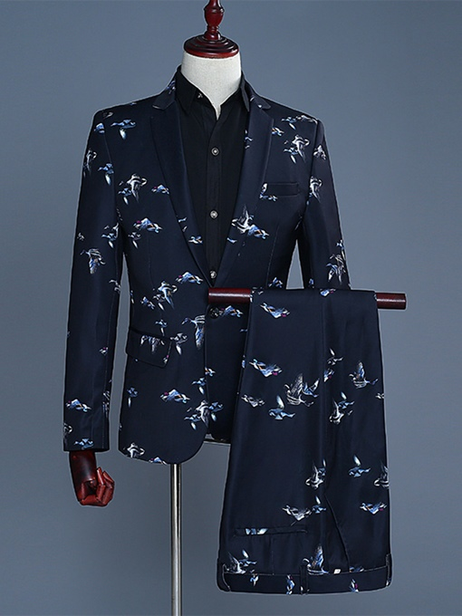 Notched Collar Floral Print Slim Men's Dress Suit