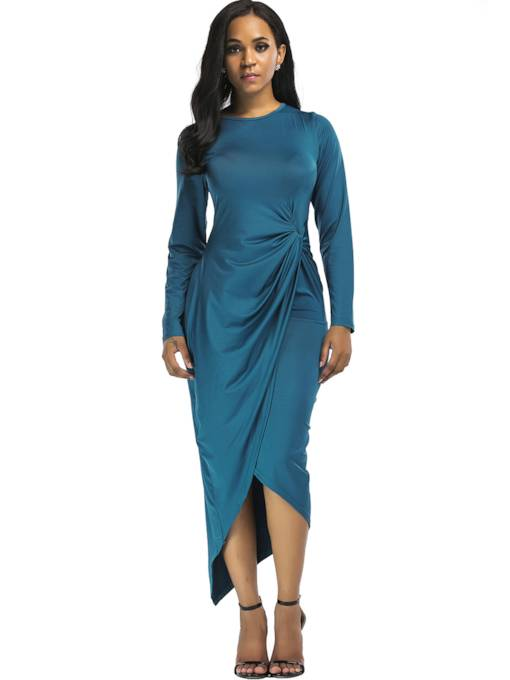 Lake Blue Ruffled Women's Maxi Dress