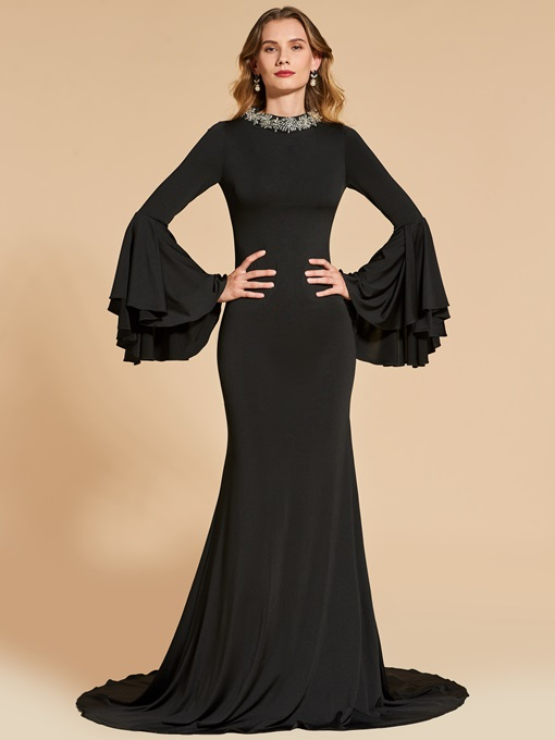 Trumpet Long Sleeves Beaded Court Train Evening Dress