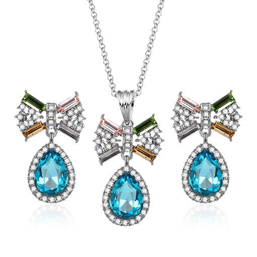 Bowknot Blue Pear Diamante Jewelry Sets