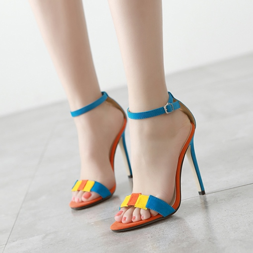 Colorful Line Style Buckle High Heel Suede Sandals Prom Shoes for Women