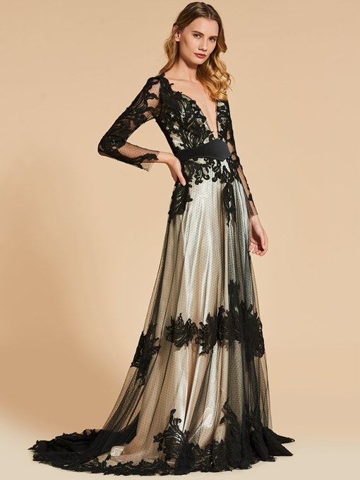 A-Line Button Appliques V-Neck Evening Dress