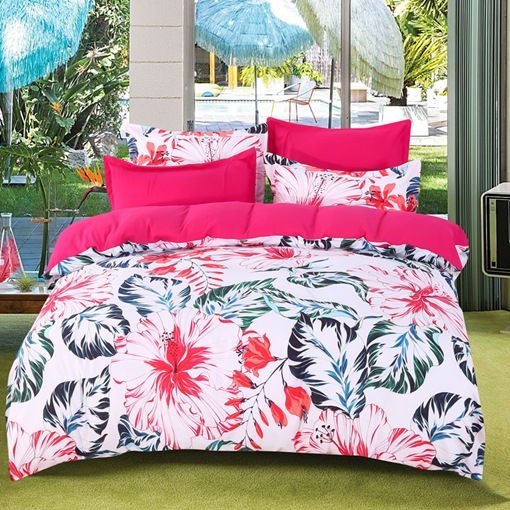 Plant Flower Pink 4pcs Bedding Sets