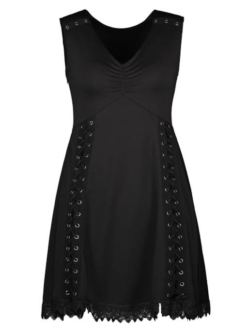 V-Neck Lace Patchwork Sleeveless Women's A-Line Dress