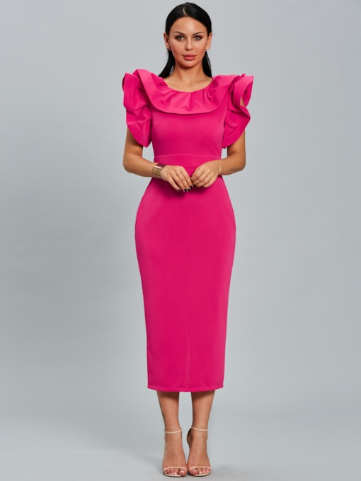 Solid Color Falbala Split Women's Bodycon Dress