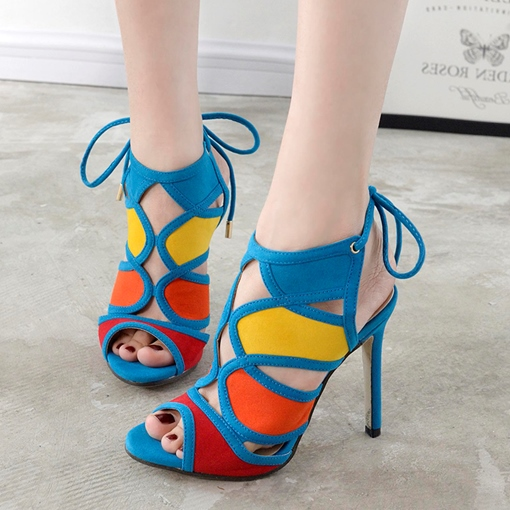 Color Block Hollow Sling Back High Heels for Women