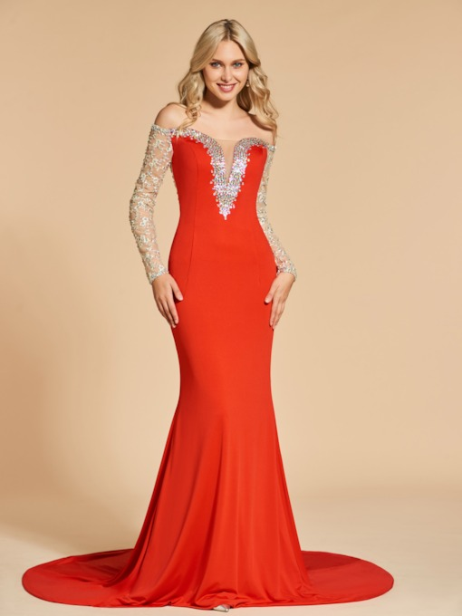 Mermaid Off-the-Shoulder Beading Sequins Evening Dress
