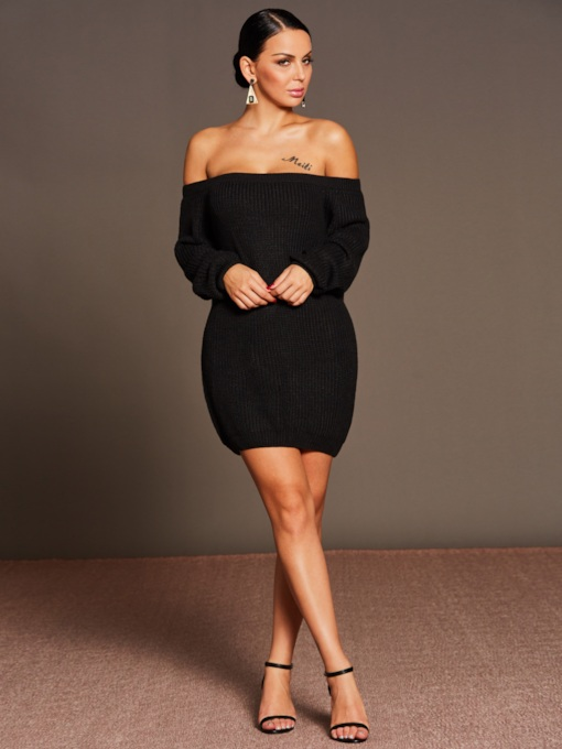 Black Slash Neck Knitted Women's Sweater Dress