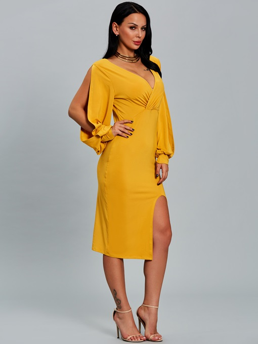 Yellow Lantern Sleeve Ruffled Women's Bodycon Dress