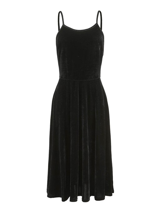 Spaghetti Straps Velvet Women's Day Dress