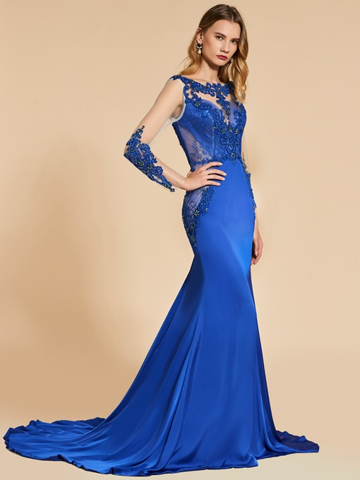 Bateau Mermaid Beading Lace Appliques Court Train Evening Dress