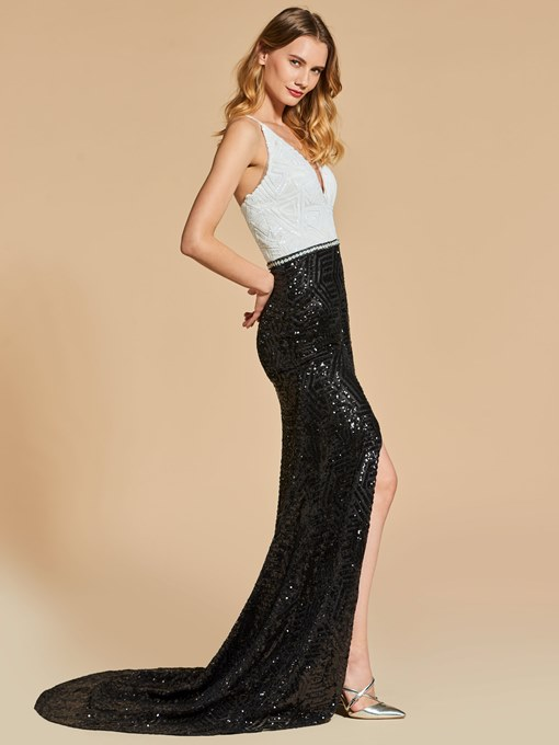Mermaid V-Neck Sequins Splitp-Front Evening Dress