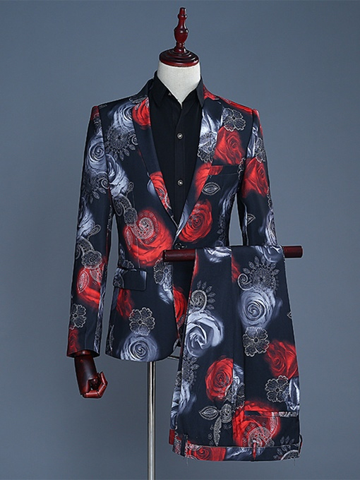 Notched Collar Floral Print One Button Men's Dress Suit