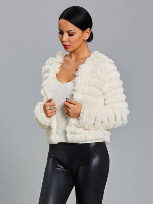 Tassel Faux Fur Slim Women's Jacket