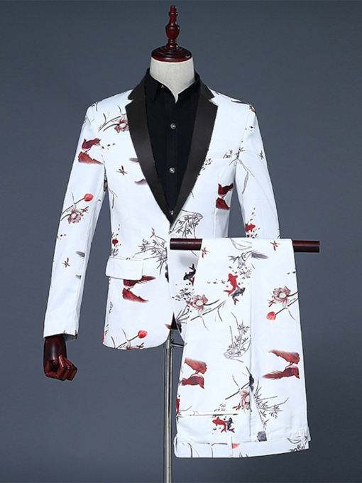 Fashion White Collar Floral Printed Slim Fit Wedding Suits Groom Formal Party Suit Tuxedo Mens Suits