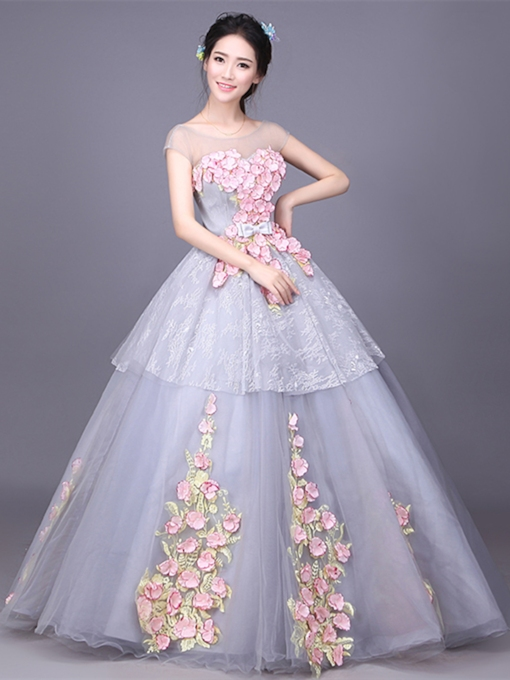 Scoop Bowknot Flowers Lace Floor-Length Quinceanera Dress