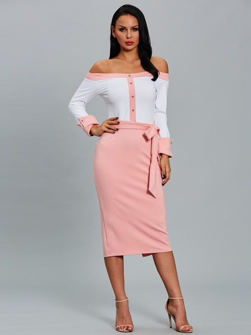 Pink off-Shoulder Lace up Women's Pencil Dress
