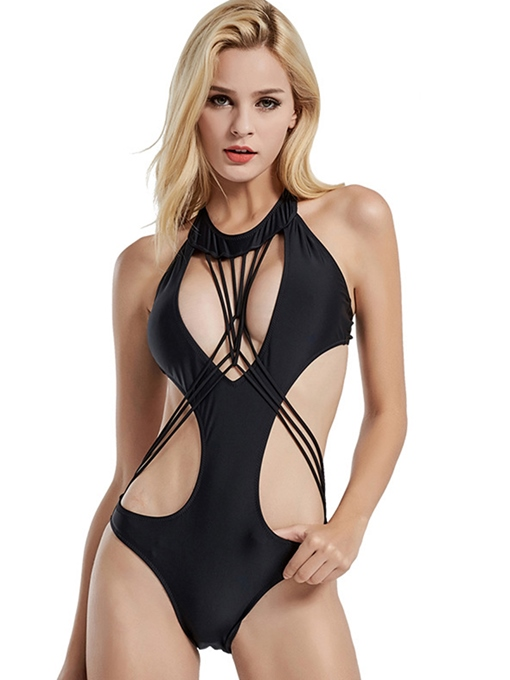 Sexy Hollow Backless Bandage One-Piece Swimsuit