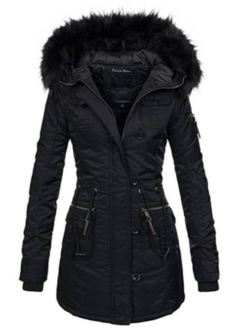 Faux Fur Hooded Pocket Regular Slim Zipper Mid-Length Women's Overcoat
