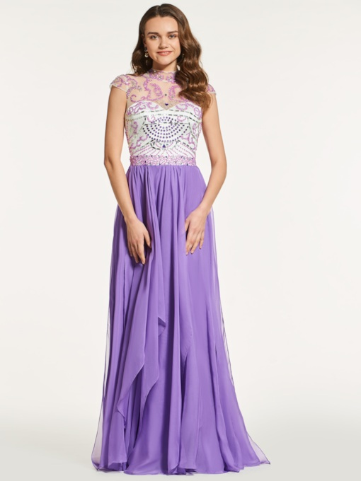 A-Line Appliques Beading Backless Prom Dress