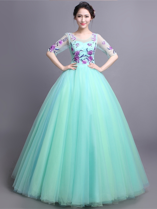Half Sleeves Beading Embroidery Sequins Scoop Quinceanera Dress