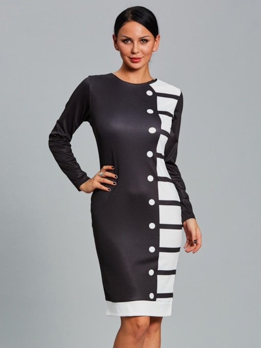 Striped Single-Breasted Women's Sheath Dress