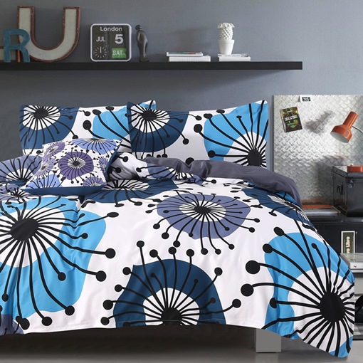 Flying Dandelion Pattern 4-Piece Cotton Bedding Sets/Duvet Cover