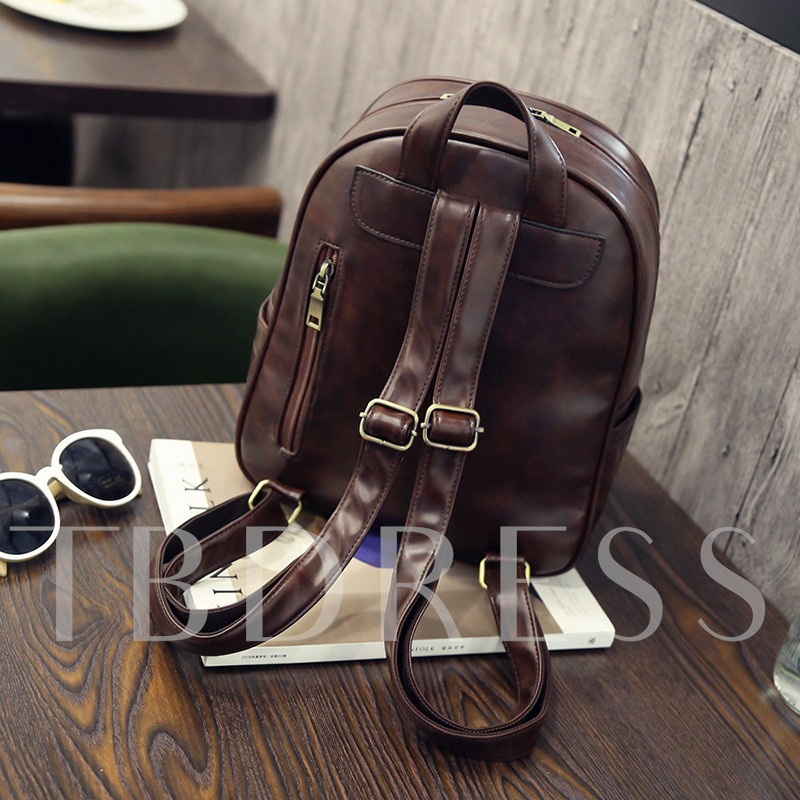 Preppy Chic Solid Color PU Women Backpack