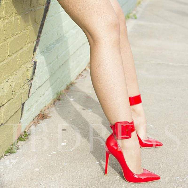 Pointed Toe Buckle Utra High Heel Women's Red Pumps Party Shoes