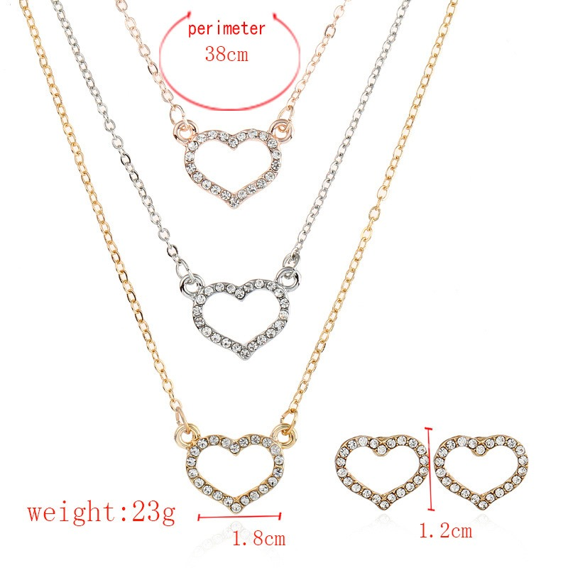 Hollow Out Heart Diamante Multilayer Jewelry Sets