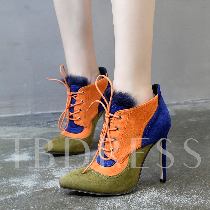 Suede Patchwork Lace Up Color Block High Heel Ankle Boots