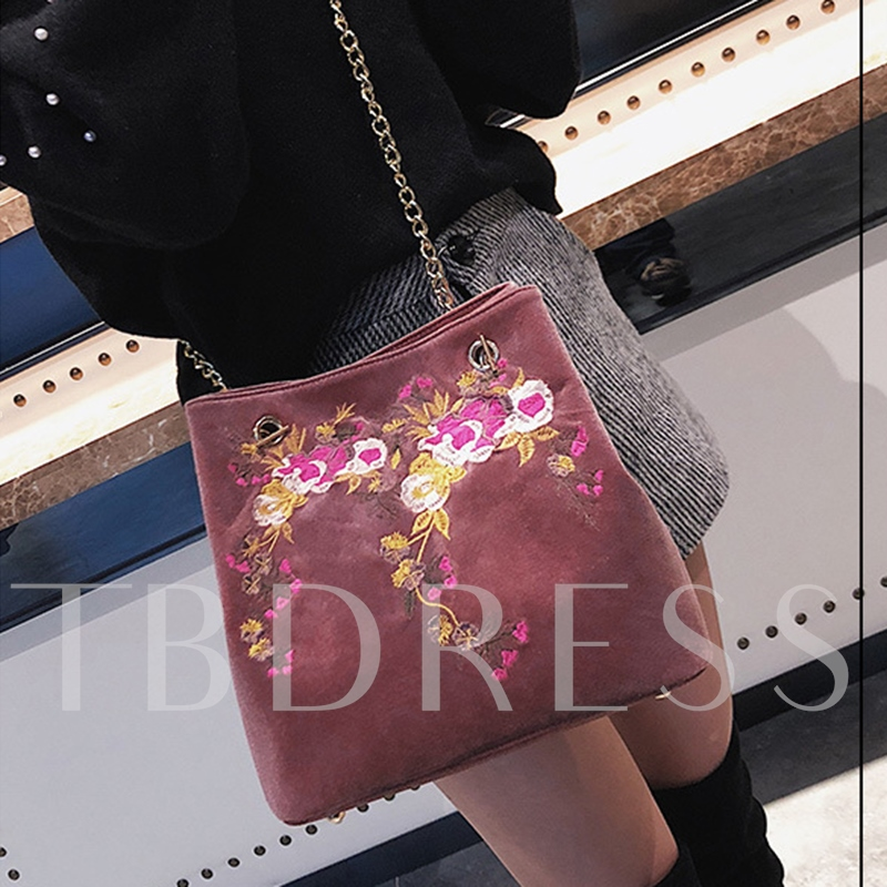 Trendy Velour Embroidery Pattern Cross Body Bag