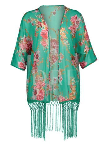 Tassel Patchwork Floral Print Vacation Women's Cape