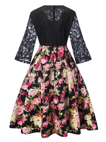 Lace Sleeve Floral Women's Day Dress