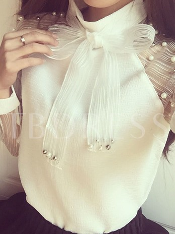 Sheer Stand Collar Elegant Faux Pearl Women's Blouse