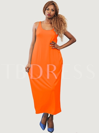 Plain Backless Loose Women's Maxi Dress