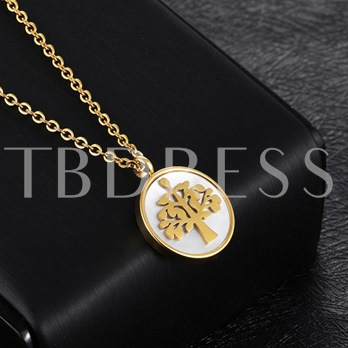 Round Life Tree Titanium Steel Overgild Necklace