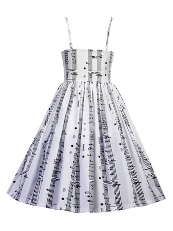 Spaghetti Straps Musical Note Pattern Women's Day Dress