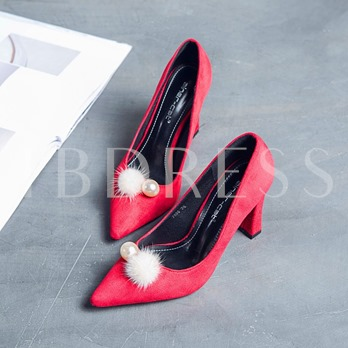 Pearl Pom Pom Shoes Solid Chunky Heel Pumps