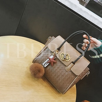 Occident Style Knitted Pattern Ball Decoration Tote