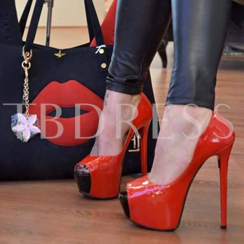 Peep Toe Platform High Heel Women's Red Sexy Pumps