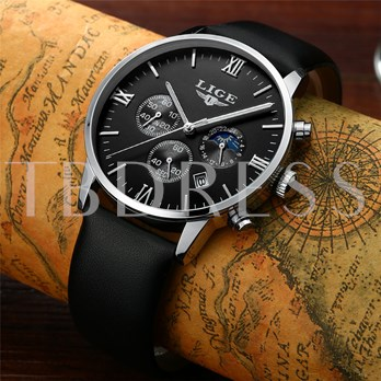 Artificial Leather Strap Three Chronograph Men's Watches
