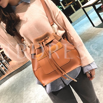 Casual Solid Color String PU Women Backpack