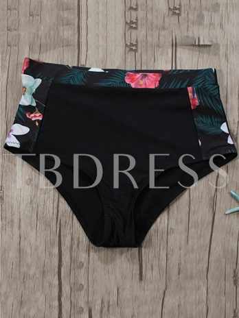 Flower Print Patchwork High-Neck Bikini Set