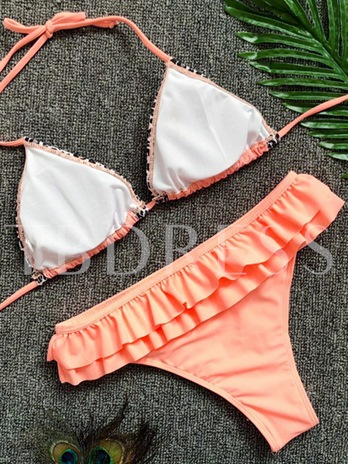 Falbala Flower Print Lace-Up Bikini Set
