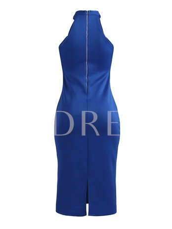 Back Zipper Plain Women's Bodycon Dress